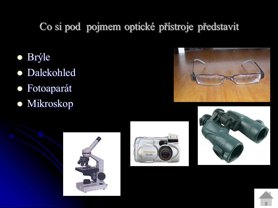 Co si pod pojmem optické přístroje představit Brýle Brýle Dalekohled Dalekohled Fotoaparát Fotoaparát Mikroskop Mikroskop