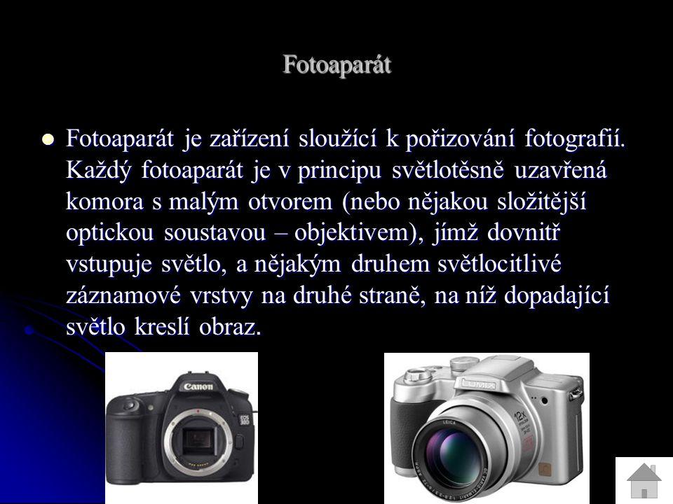 Fotoaparát Fotoaparát je zařízení sloužící k pořizování fotografií.