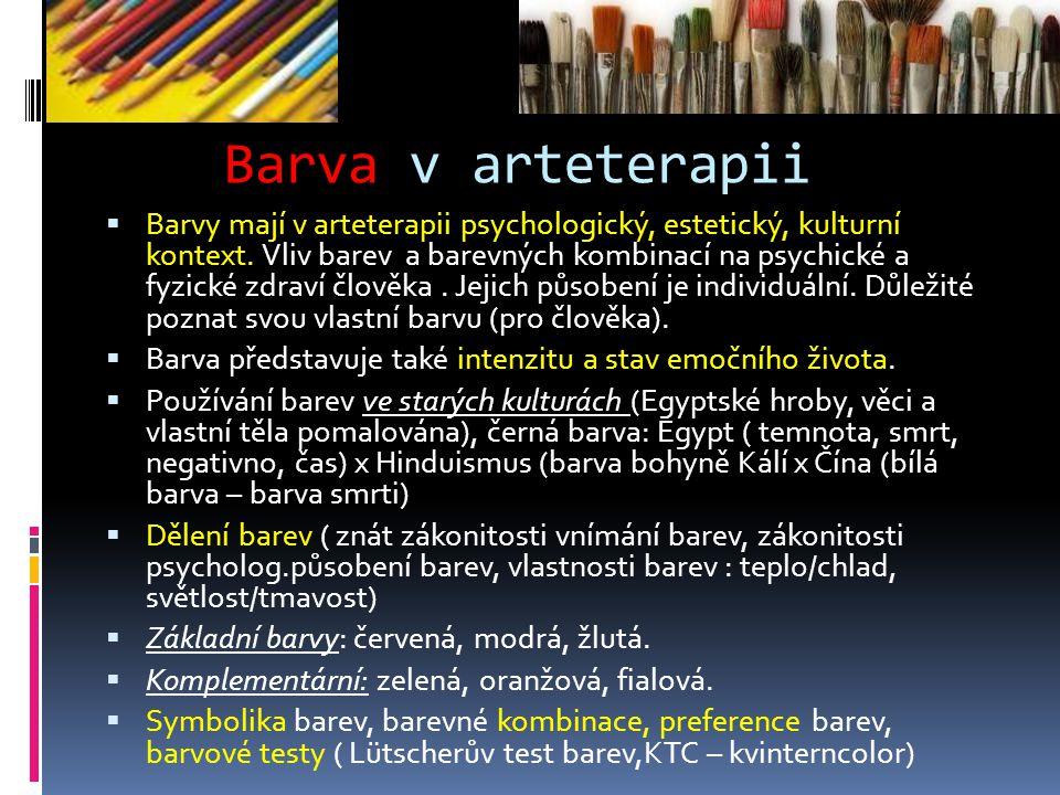 Barva v arteterapii  Barvy mají v arteterapii psychologický, estetický, kulturní kontext.