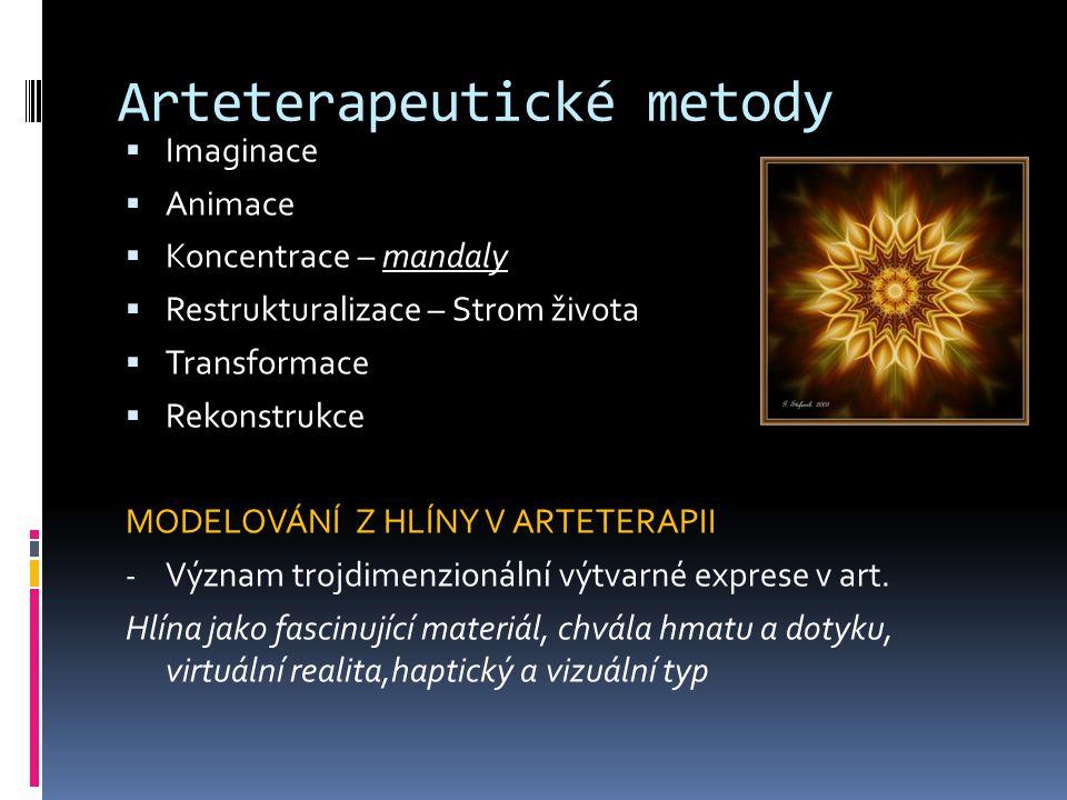 Arteterapeutické metody  Imaginace  Animace  Koncentrace – mandaly  Restrukturalizace – Strom života  Transformace  Rekonstrukce MODELOVÁNÍ Z HLÍNY V ARTETERAPII - Význam trojdimenzionální výtvarné exprese v art.