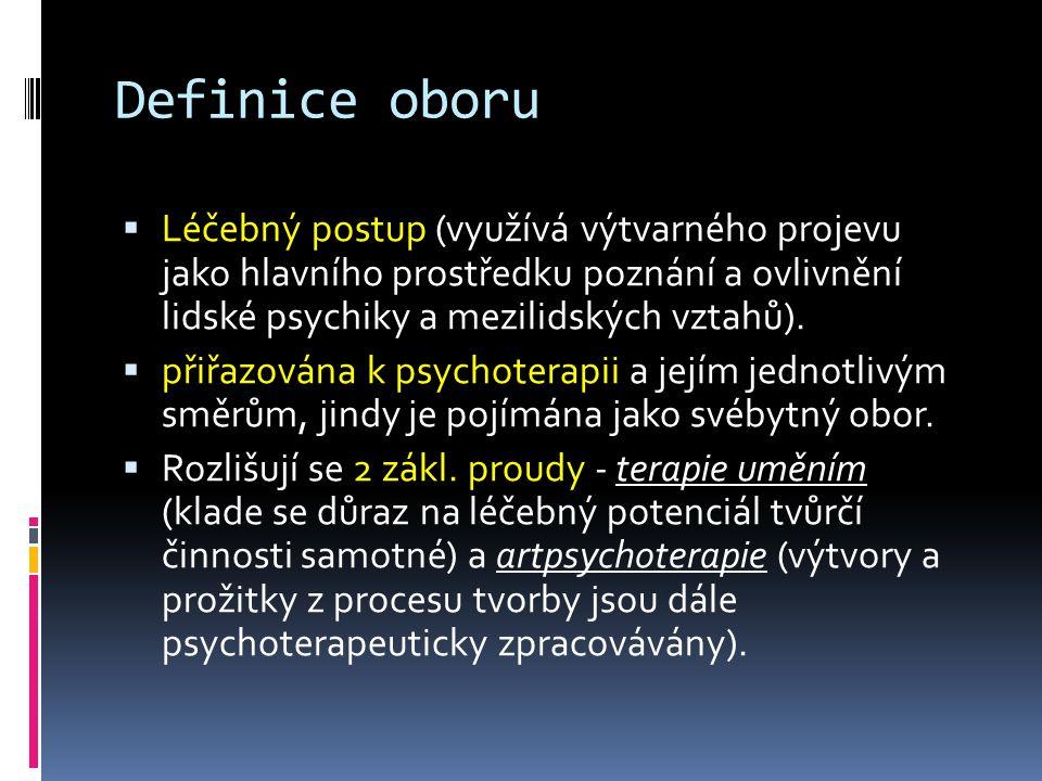 Definice oboru  Léčebný postup (využívá výtvarného projevu jako hlavního prostředku poznání a ovlivnění lidské psychiky a mezilidských vztahů).