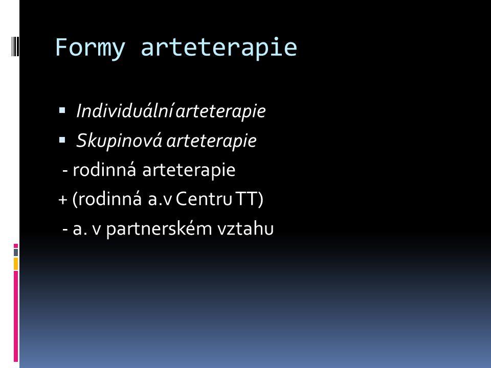 Formy arteterapie  Individuální arteterapie  Skupinová arteterapie - rodinná arteterapie + (rodinná a.v Centru TT) - a.