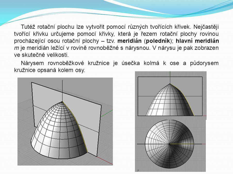 Tutéž rotační plochu lze vytvořit pomocí různých tvořících křivek. Nejčastěji tvořící křivku určujeme pomocí křivky, která je řezem rotační plochy rov