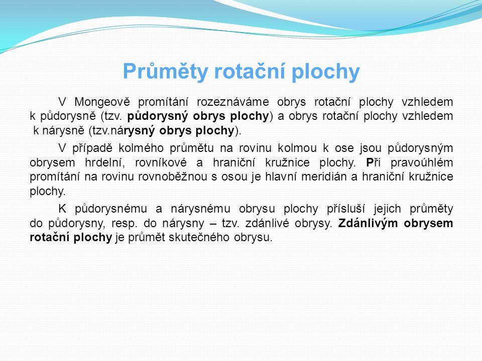 Klasifikace rotačních ploch Rotační plochy klasifikujeme dle tvořící křivky a dle jejího umístění vzhledem k ose rotace ROTAČNÍ PLOCHY Tvořící křivkaKonkrétní příklad Přímkovépřímka p // oválcová rotační plocha přímka p různoběžná s osou okuželová rotační plocha přímka p mimoběžná s osou ojednodílný rotační hyperboloid Cyklické kružnice k  β, o  β anuloid kružnice k  β, o  β a S  o kulová plocha Rotační kvadriky elipsa e  β, o  β a S  o rotační elipsoid parabola p  β, o  β a V  o rotační paraboloid hyperbola (rotace okolo vedlejší osy) jednodílný rotační hyperboloid hyperbola (rotace okolo hlavní osy)dvojdílný rotační hyperboloid