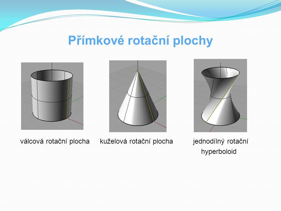 Přímkové rotační plochy válcová rotační plocha kuželová rotační plocha jednodílný rotační hyperboloid