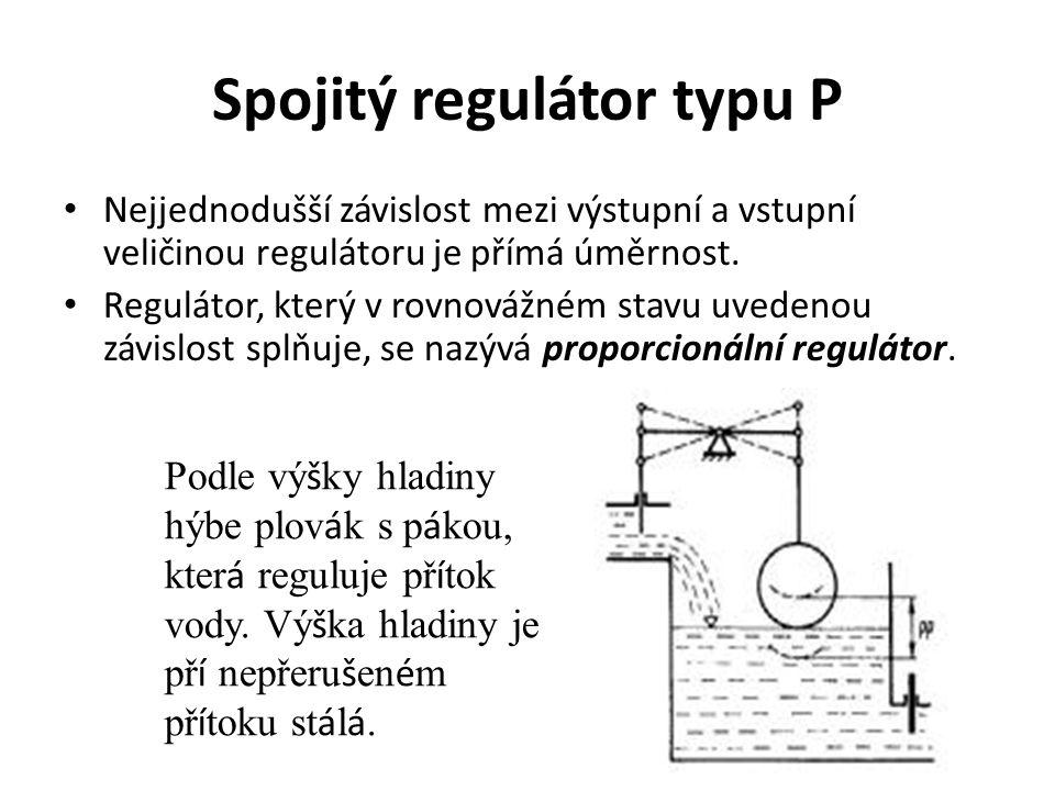 Spojitý regulátor typu P Nejjednodušší závislost mezi výstupní a vstupní veličinou regulátoru je přímá úměrnost. Regulátor, který v rovnovážném stavu