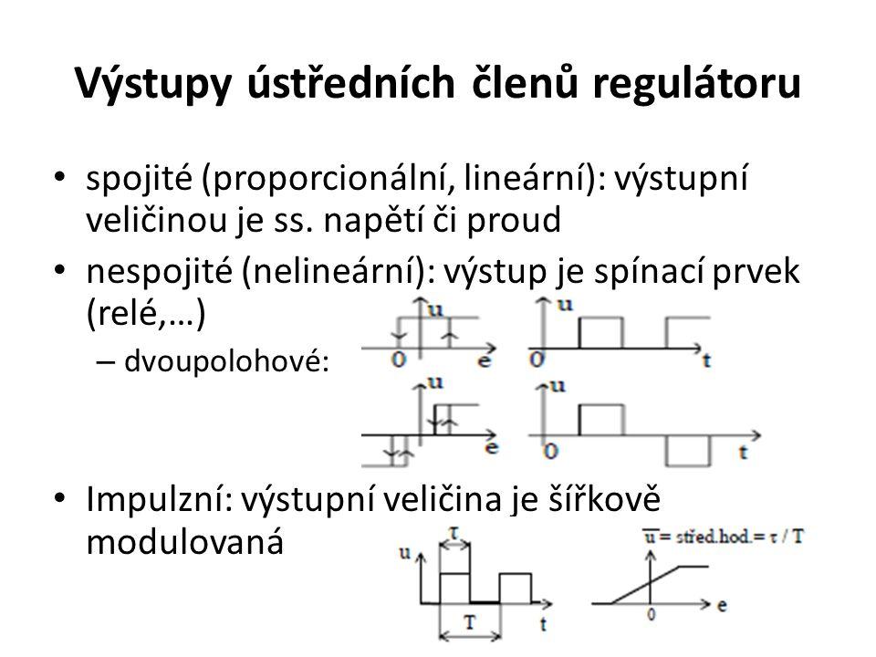 Výstupy ústředních členů regulátoru spojité (proporcionální, lineární): výstupní veličinou je ss. napětí či proud nespojité (nelineární): výstup je sp