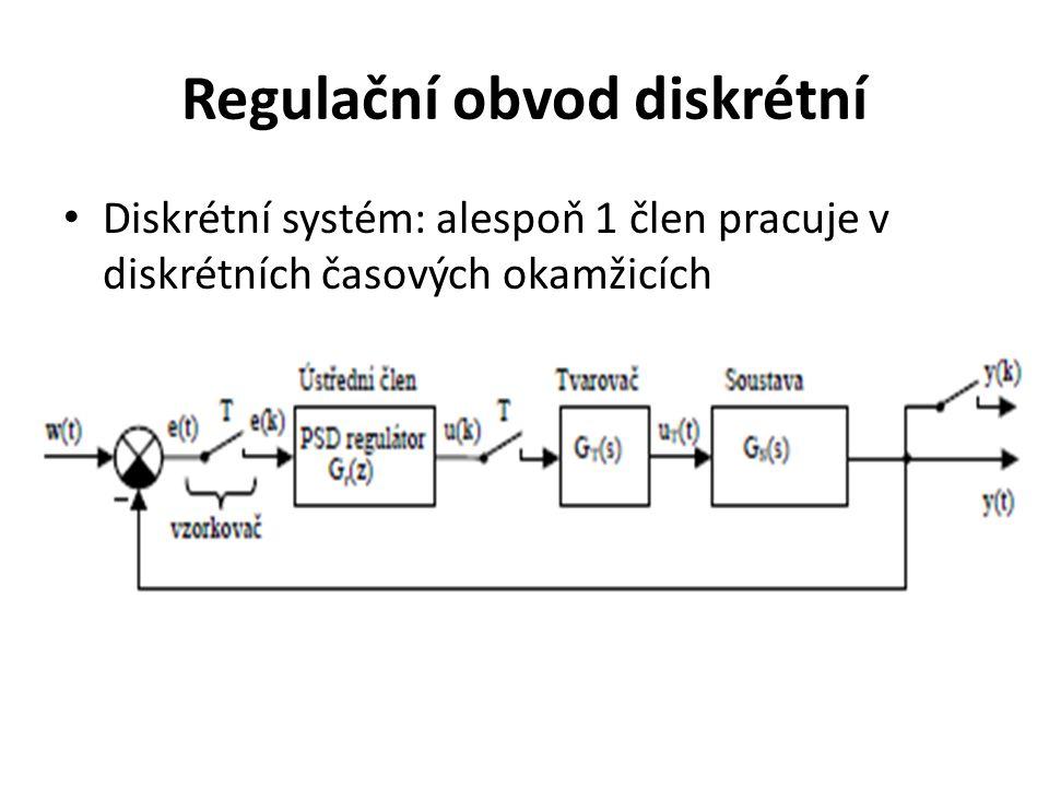 Regulační obvod diskrétní Diskrétní systém: alespoň 1 člen pracuje v diskrétních časových okamžicích