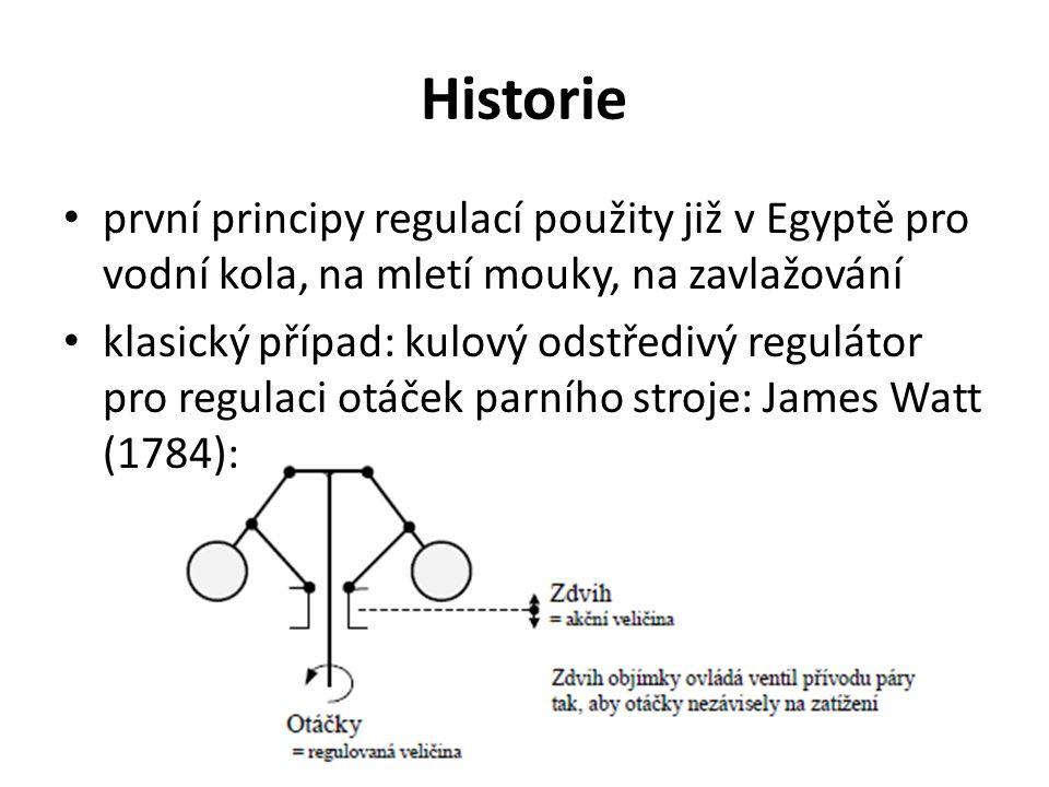 Historie první principy regulací použity již v Egyptě pro vodní kola, na mletí mouky, na zavlažování klasický případ: kulový odstředivý regulátor pro