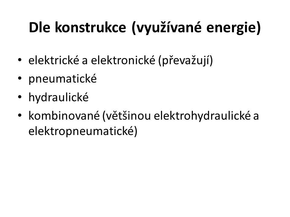 Dle konstrukce (využívané energie) elektrické a elektronické (převažují) pneumatické hydraulické kombinované (většinou elektrohydraulické a elektropne