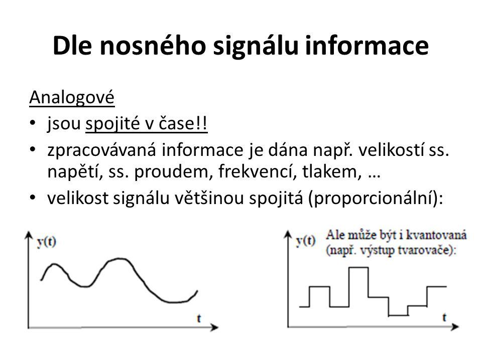 Dle nosného signálu informace Analogové jsou spojité v čase!! zpracovávaná informace je dána např. velikostí ss. napětí, ss. proudem, frekvencí, tlake