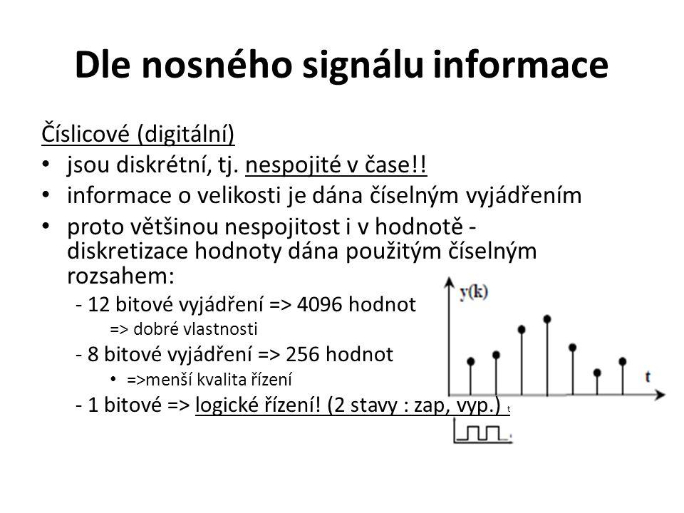 Dle nosného signálu informace Číslicové (digitální) jsou diskrétní, tj. nespojité v čase!! informace o velikosti je dána číselným vyjádřením proto vět