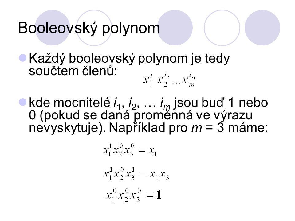 Booleovský polynom Každý booleovský polynom je tedy součtem členů: kde mocnitelé i 1, i 2, … i m jsou buď 1 nebo 0 (pokud se daná proměnná ve výrazu n