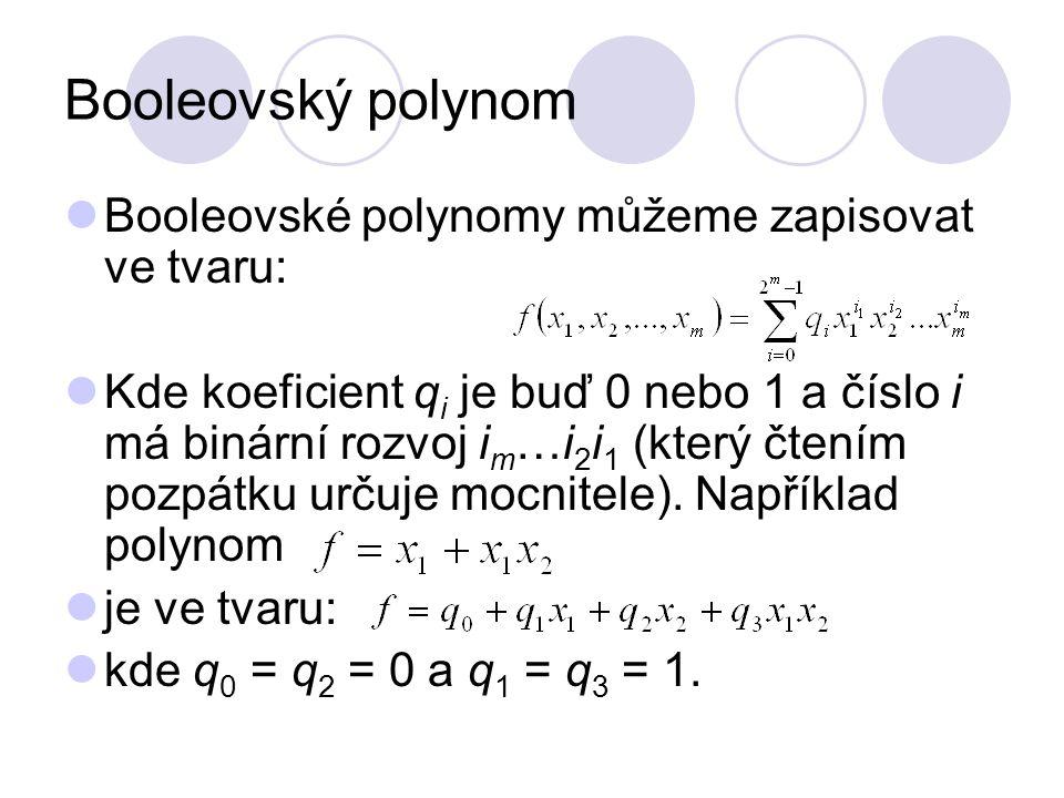 Booleovský polynom Booleovské polynomy můžeme zapisovat ve tvaru: Kde koeficient q i je buď 0 nebo 1 a číslo i má binární rozvoj i m …i 2 i 1 (který č