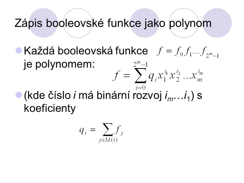 Zápis booleovské funkce jako polynom Každá booleovská funkce je polynomem: (kde číslo i má binární rozvoj i m …i 1 ) s koeficienty