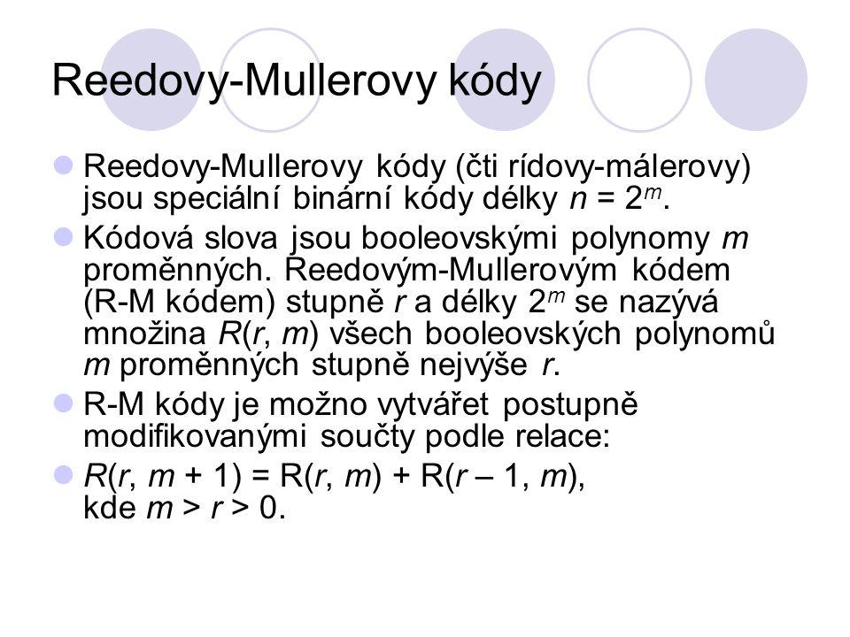 Reedovy-Mullerovy kódy Reedovy-Mullerovy kódy (čti rídovy-málerovy) jsou speciální binární kódy délky n = 2 m. Kódová slova jsou booleovskými polynomy