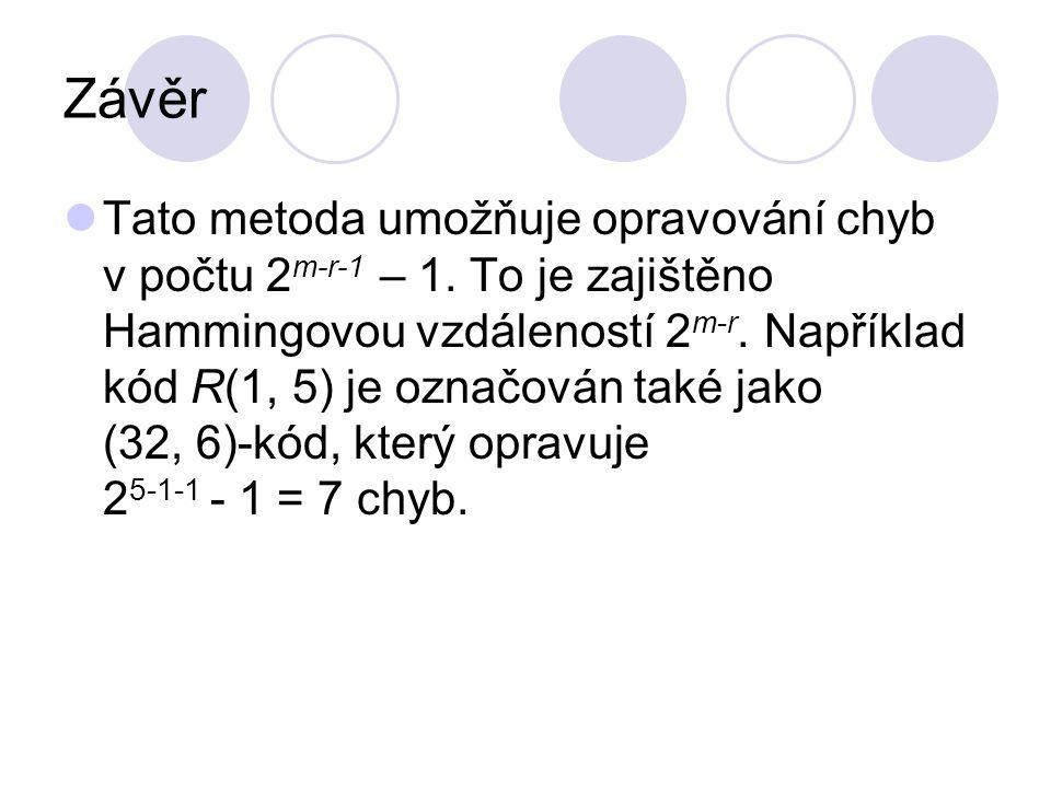 Závěr Tato metoda umožňuje opravování chyb v počtu 2 m-r-1 – 1. To je zajištěno Hammingovou vzdáleností 2 m-r. Například kód R(1, 5) je označován také