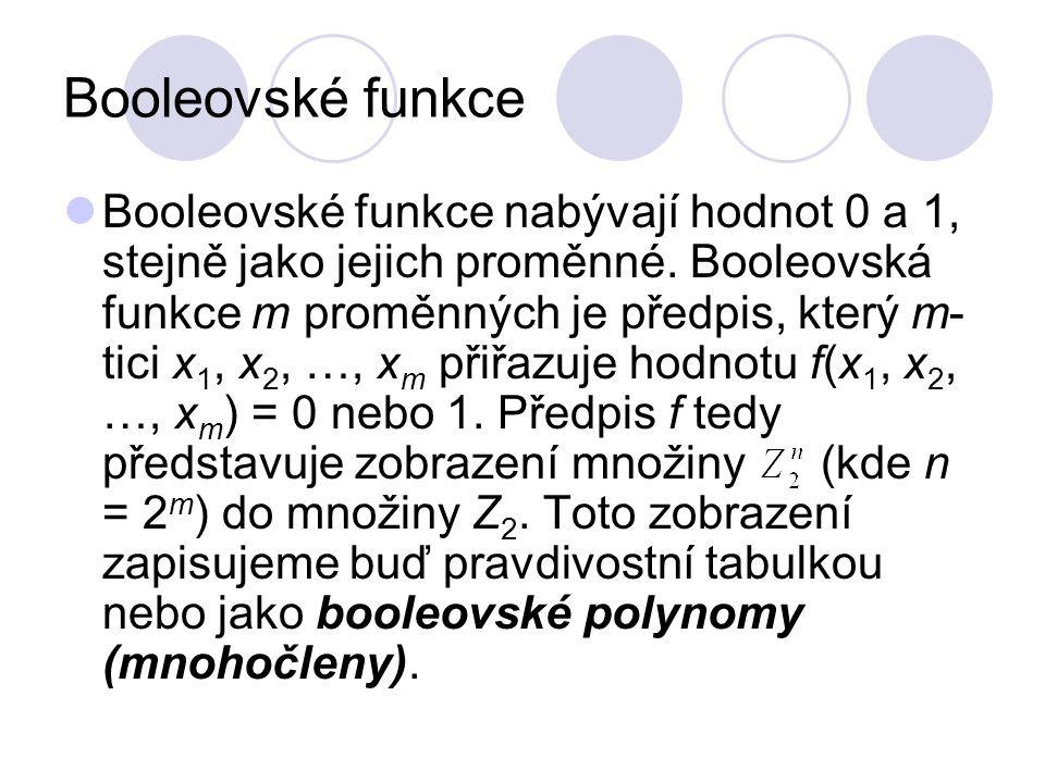 Booleovské funkce Booleovské funkce nabývají hodnot 0 a 1, stejně jako jejich proměnné. Booleovská funkce m proměnných je předpis, který m- tici x 1,