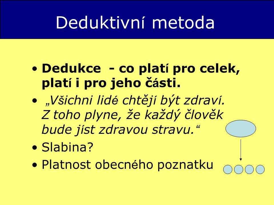 Deduktivn í metoda Dedukce - co plat í pro celek, plat í i pro jeho č á sti.