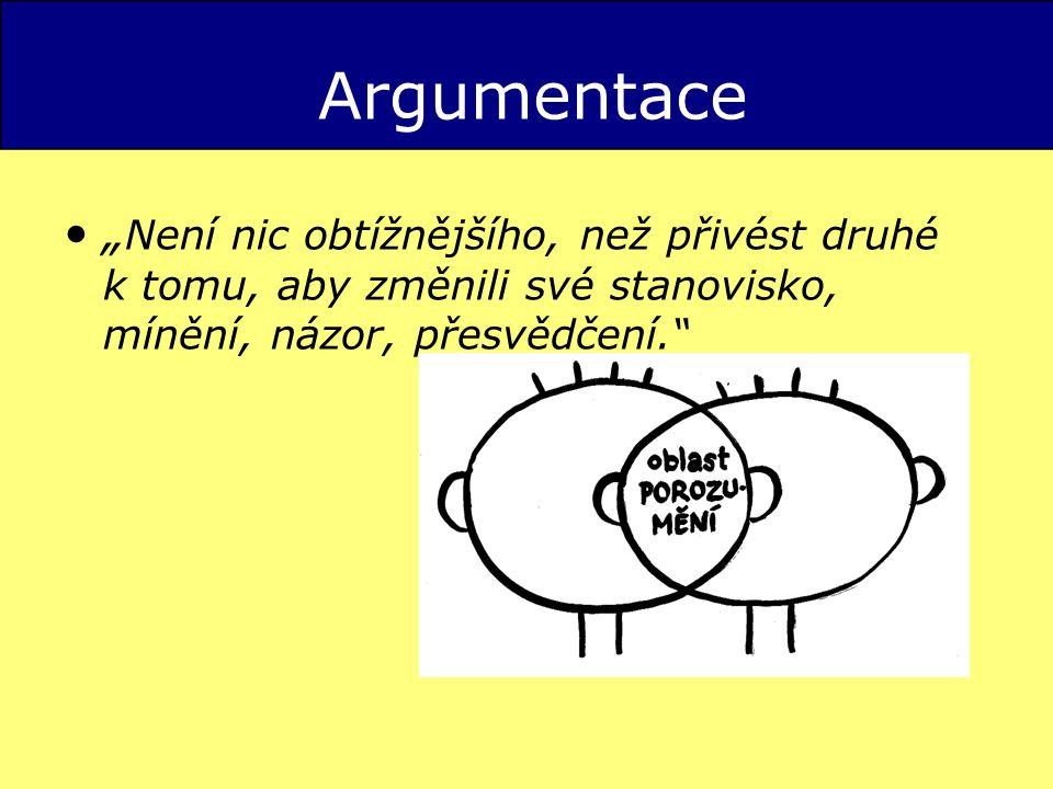 """Argumentace """" Není nic obtížnějšího, než přivést druhé k tomu, aby změnili své stanovisko, mínění, názor, přesvědčení."""