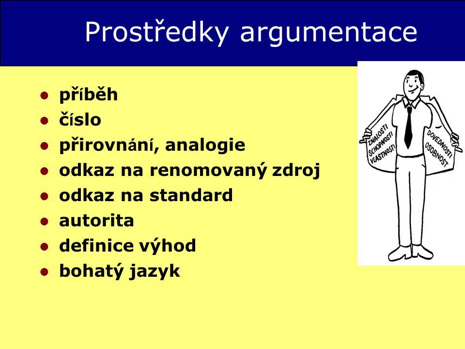 Prostředky argumentace př í běh č í slo přirovn á n í, analogie odkaz na renomovaný zdroj odkaz na standard autorita definice výhod bohatý jazyk