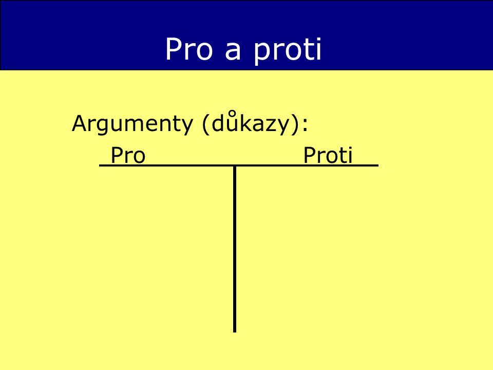 Pro a proti Argumenty (důkazy): ProProti