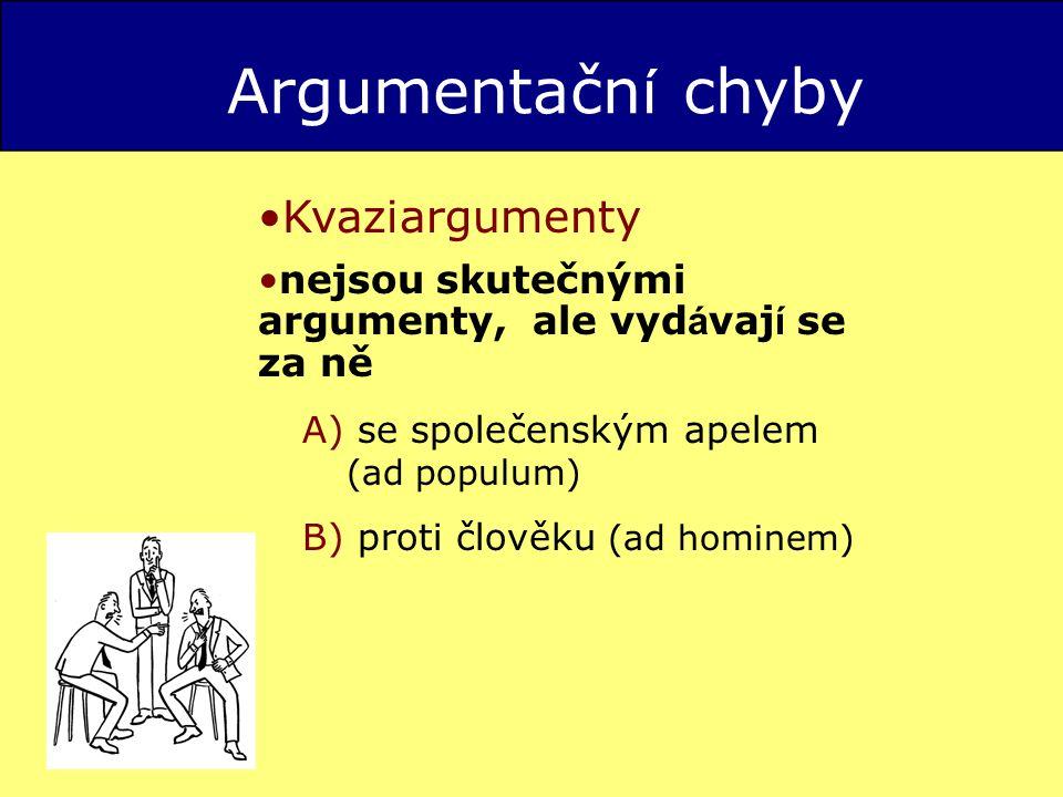 Argumentačn í chyby Kvaziargumenty nejsou skutečnými argumenty, ale vyd á vaj í se za ně A) se společenským apelem (ad populum) B) proti člověku (ad hominem)