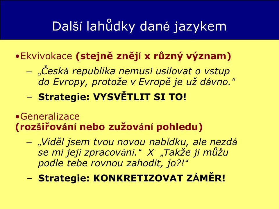 """Ekvivokace (stejně zněj í x různý význam) –"""" Česk á republika nemus í usilovat o vstup do Evropy, protože v Evropě je už d á vno."""
