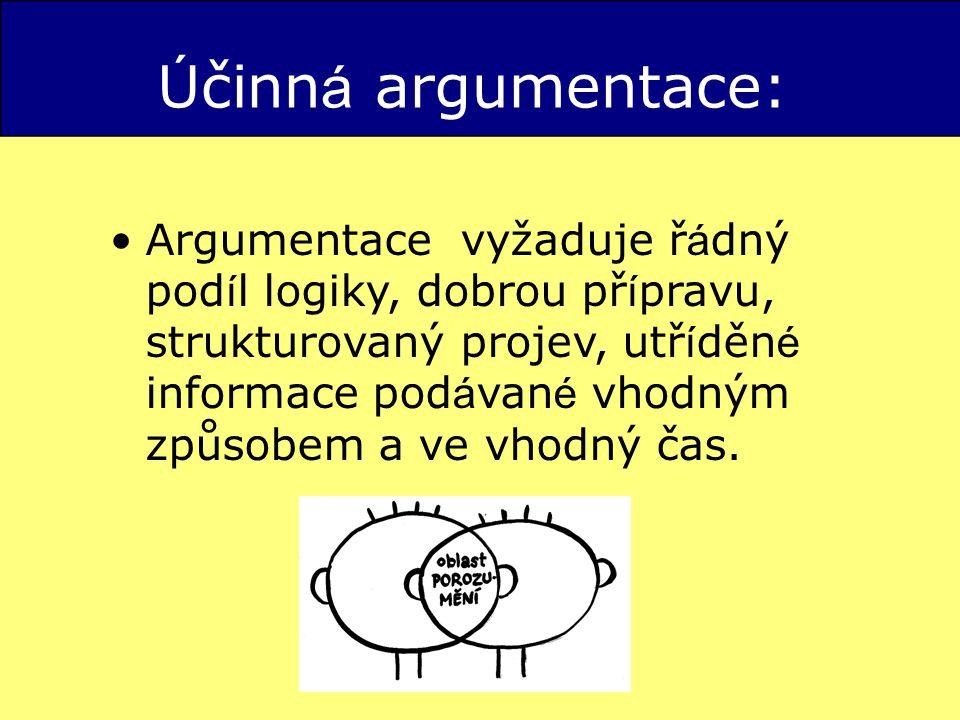 Ú činn á argumentace: Argumentace vyžaduje ř á dný pod í l logiky, dobrou př í pravu, strukturovaný projev, utř í děn é informace pod á van é vhodným způsobem a ve vhodný čas.