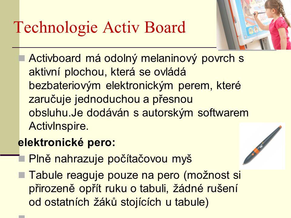 Technologie Activ Board Activboard má odolný melaninový povrch s aktivní plochou, která se ovládá bezbateriovým elektronickým perem, které zaručuje jednoduchou a přesnou obsluhu.Je dodáván s autorským softwarem ActivInspire.