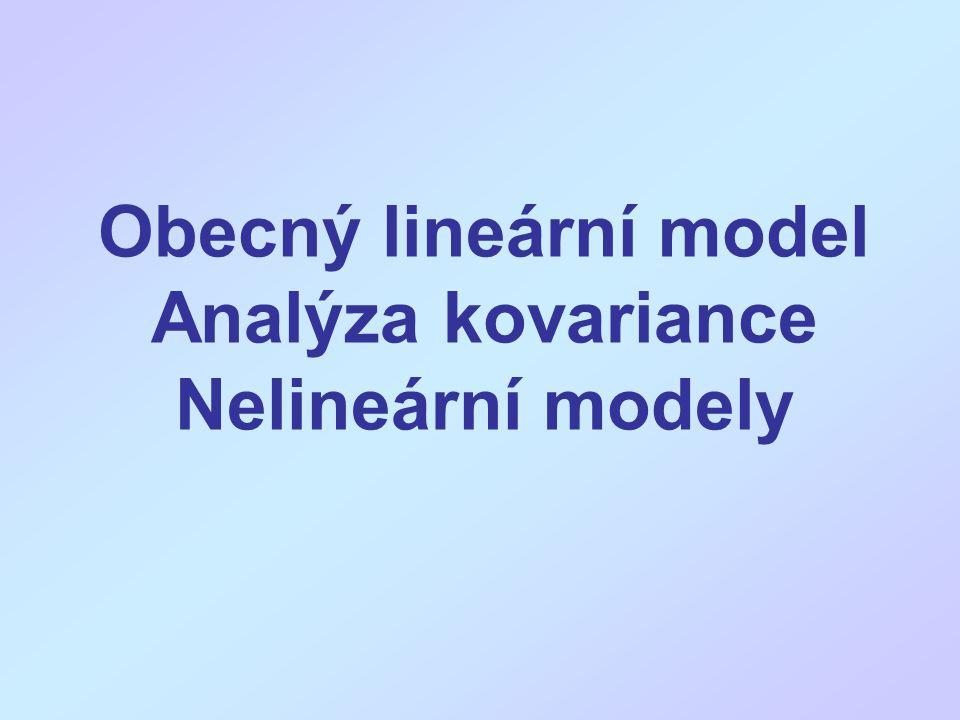 Obecný lineární model General linear model ANOVA – jednocestná: Y ij =  0 +  i +  ij Regresní model: Y j =  0 +  1 X 1j +  2 X 2j +  j ANOVA model lze vyjádřit (a spočítat) obdobným způsobem jako lineární regresi Obecný lineární model je společné vyjádření, s vysvětlovanou kvantitativní proměnnou a vysvětlujícími buď kvantitativními nebo faktory (kategoriální)