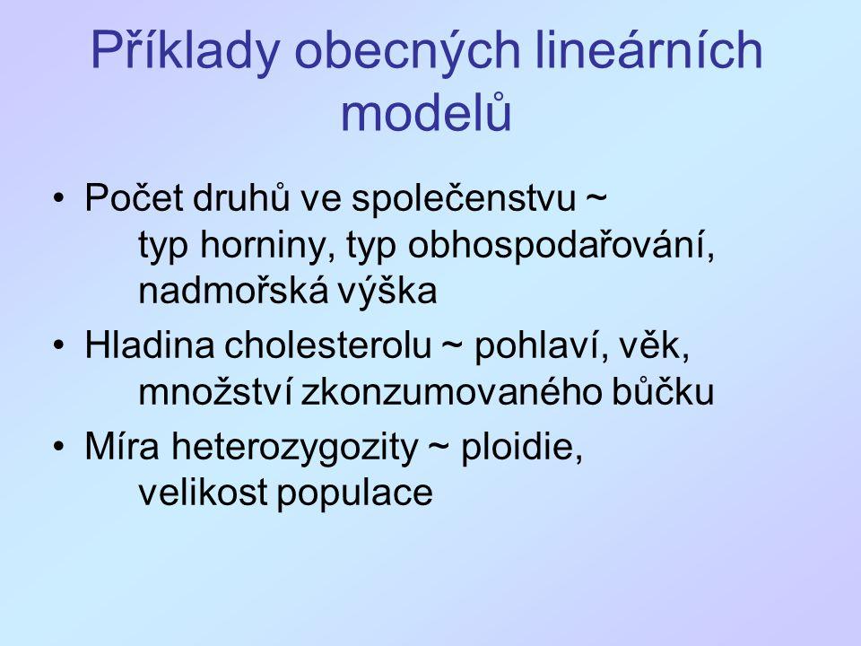 Příklady obecných lineárních modelů Počet druhů ve společenstvu ~ typ horniny, typ obhospodařování, nadmořská výška Hladina cholesterolu ~ pohlaví, věk, množství zkonzumovaného bůčku Míra heterozygozity ~ ploidie, velikost populace