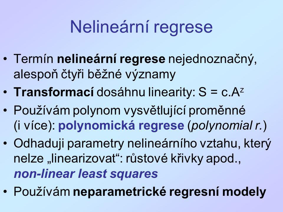 """Nelineární regrese Termín nelineární regrese nejednoznačný, alespoň čtyři běžné významy Transformací dosáhnu linearity: S = c.A z Používám polynom vysvětlující proměnné (i více): polynomická regrese (polynomial r.) Odhaduji parametry nelineárního vztahu, který nelze """"linearizovat : růstové křivky apod., non-linear least squares Používám neparametrické regresní modely"""