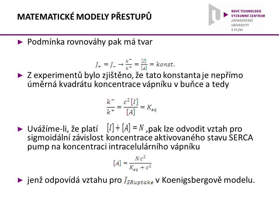 ► Podmínka rovnováhy pak má tvar ► Z experimentů bylo zjištěno, že tato konstanta je nepřímo úměrná kvadrátu koncentrace vápníku v buňce a tedy ► Uváž