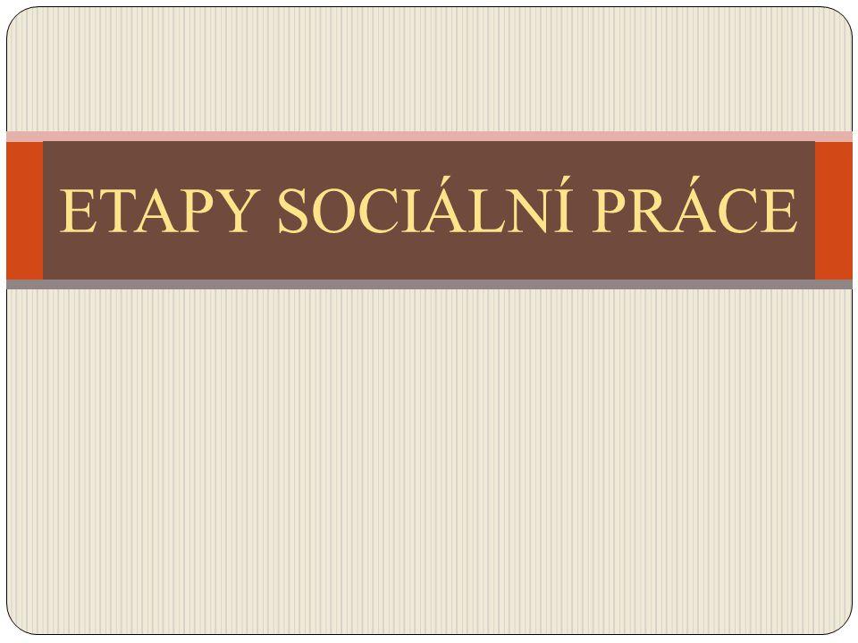 Etapy sociální práce V SOCIÁLNÍ PRÁCI ROZLIŠUJEME 5 ZÁKLADNÍCH ETAP sociální evidence diagnostická sociální terapie navrhování řešení a sociální terapie ověřování výsledků