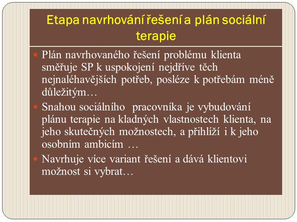 Etapa navrhování řešení a plán sociální terapie Plán navrhovaného řešení problému klienta směřuje SP k uspokojení nejdříve těch nejnaléhavějších potře