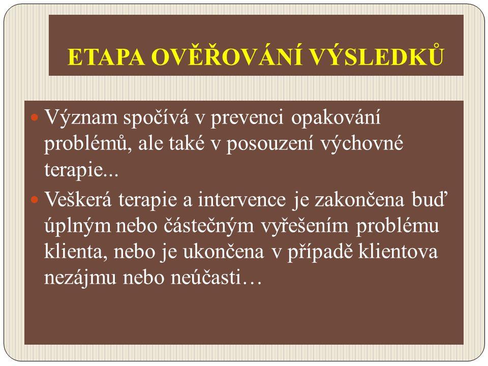 ETAPA OVĚŘOVÁNÍ VÝSLEDKŮ Význam spočívá v prevenci opakování problémů, ale také v posouzení výchovné terapie... Veškerá terapie a intervence je zakonč