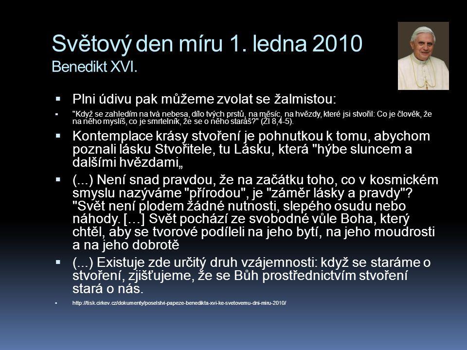Světový den míru 1. ledna 2010 Benedikt XVI.  Plni údivu pak můžeme zvolat se žalmistou: 