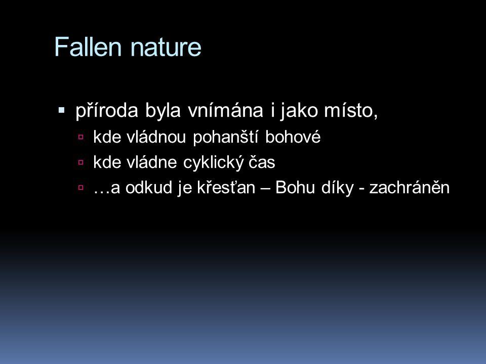 Fallen nature  příroda byla vnímána i jako místo,  kde vládnou pohanští bohové  kde vládne cyklický čas  …a odkud je křesťan – Bohu díky - zachrán