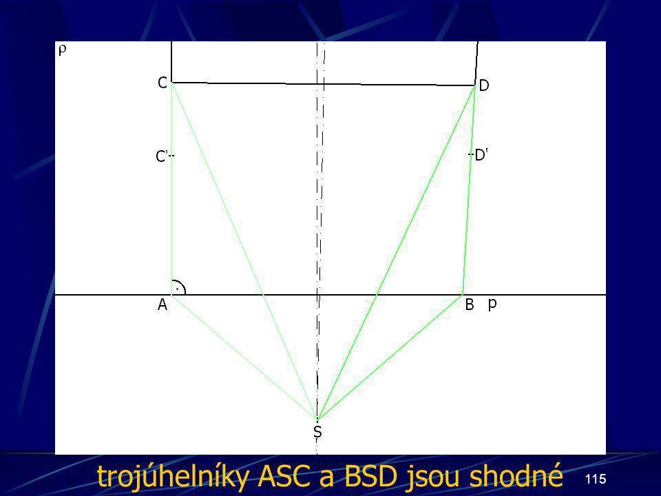 114 Dokončení důkazu třetího případu z vlastností osy úsečky vyplývá: |AS| = |BS|, odtud | ∡ BAS| = | ∡ ABS| |CS| = |DS| Trojúhelníky ASC a BSD jsou shodné (sss)