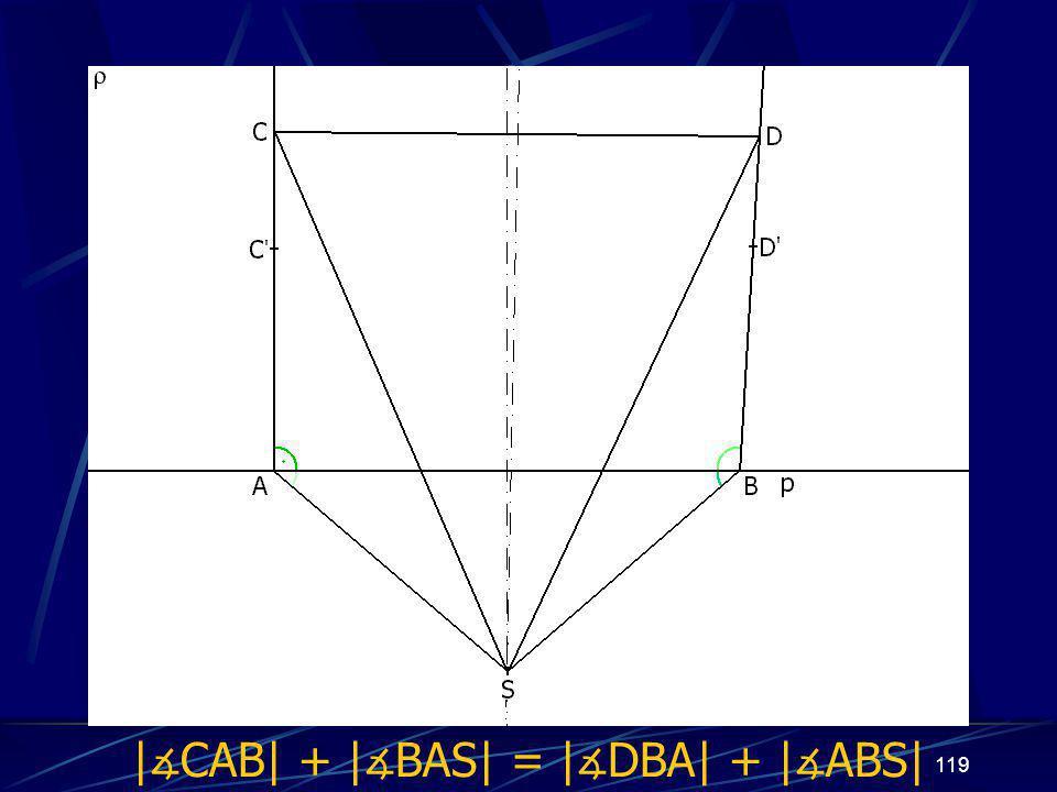 118 Dokončení důkazu třetího případu z vlastností osy úsečky vyplývá: |AS| = |BS|, odtud | ∡ BAS| = | ∡ ABS| |CS| = |DS| Trojúhelníky ASC a BSD jsou shodné (sss) a odtud plyne, že | ∡ CAS| = | ∡ DBS| Odtud již jasně: | ∡ CAB| + | ∡ BAS| = | ∡ DBA| + | ∡ ABS|