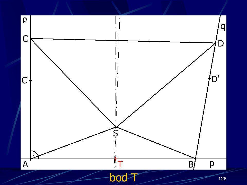 127 Konstrukce prvního případu Buď dána rovina ρ, dále: 14. Úsečka BS 15. Úsečka CS 16. Úsečka DS 17. přímka q tak, že jí náleží úsečka CD 18. bod T t