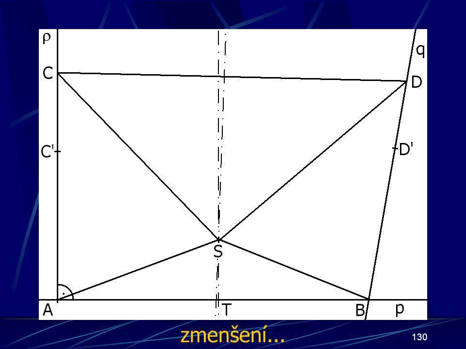 129 Konstrukce prvního případu Buď dána rovina ρ, dále: 15. Úsečka CS 16. Úsečka DS 17. přímka q tak, že jí náleží úsečka CD 18. bod T tak, že T nálež