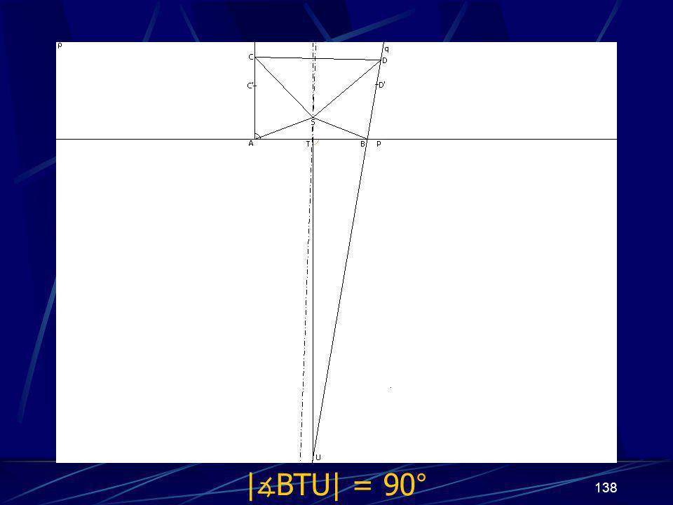 137 Dokončení sporu prvního případu z vlastností osy úsečky vyplývá   ∡ BTU  = 90°