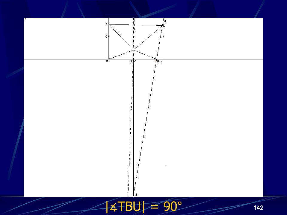 141 Dokončení sporu prvního případu z vlastností osy úsečky vyplývá | ∡ BTU| = 90° Protože | ∡ ABD| = 90° a | ∡ ABD| + | ∡ TBU| = 180°, potom | ∡ TBU| = 90°