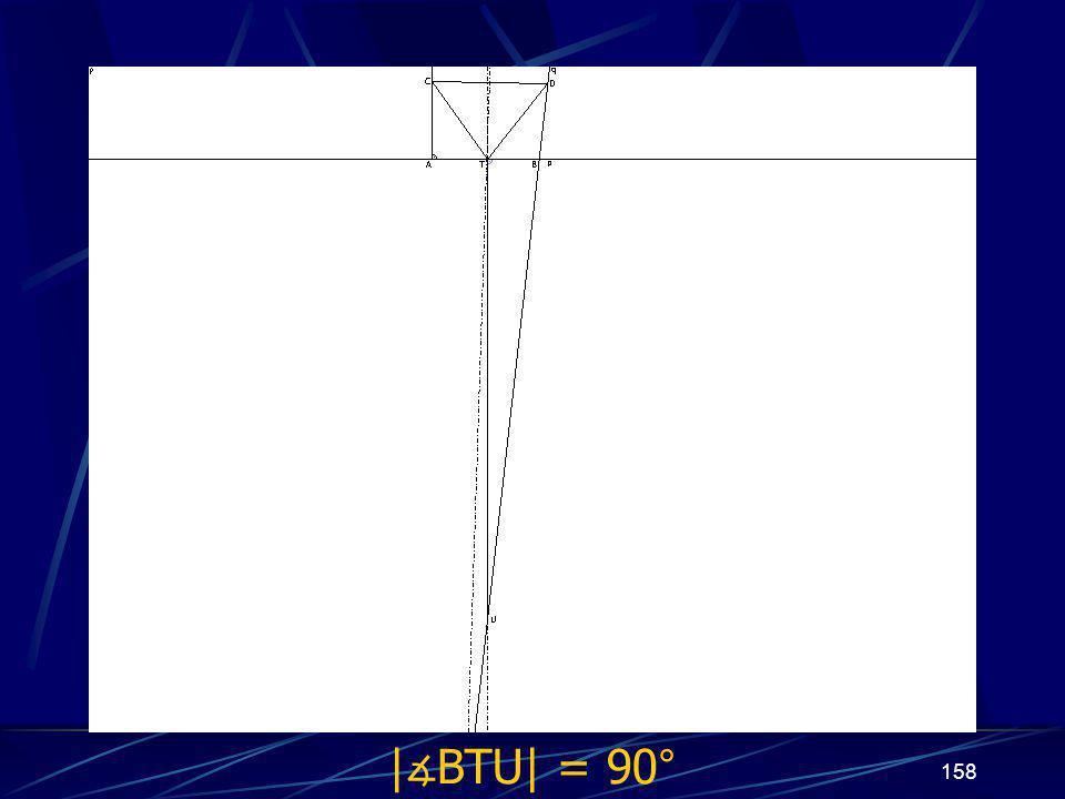 157 Dokončení sporu druhého případu z vlastností osy úsečky vyplývá | ∡ BTU| = 90°