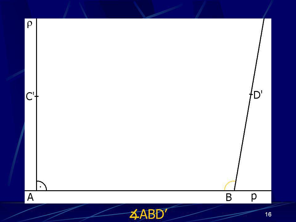 15 Konstrukce důkazu Buď dána rovina ρ, dále: 1. Zkonstruuji přímku p 2. Bod A náležící přímce p 3. Bod B náležící přímce p 4. ∡ BAC', jehož velikost