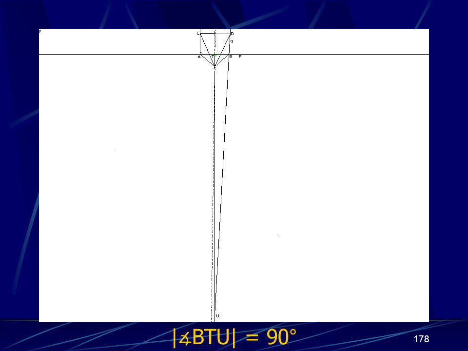 177 Dokončení sporu třetího případu z vlastností osy úsečky vyplývá   ∡ BTU  = 90°