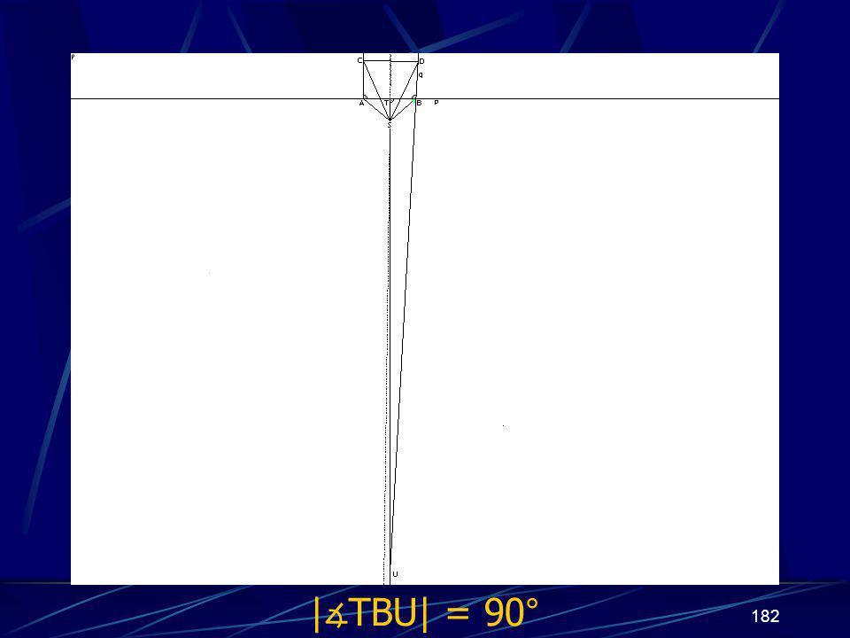 181 Dokončení sporu třetího případu z vlastností osy úsečky vyplývá | ∡ BTU| = 90° Protože | ∡ ABD| = 90° a | ∡ ABD| + | ∡ TBU| = 180°, potom | ∡ TBU| = 90°