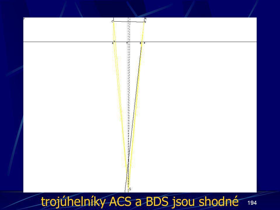 193 Diskuze Pokud opět budeme z vlastností os vyvozovat: |AS| = |BS| |CS| = |DS|, potom Z druhého případu se dá usuzovat: Trojúhelníky ACS a BDS jsou shodné (sss)